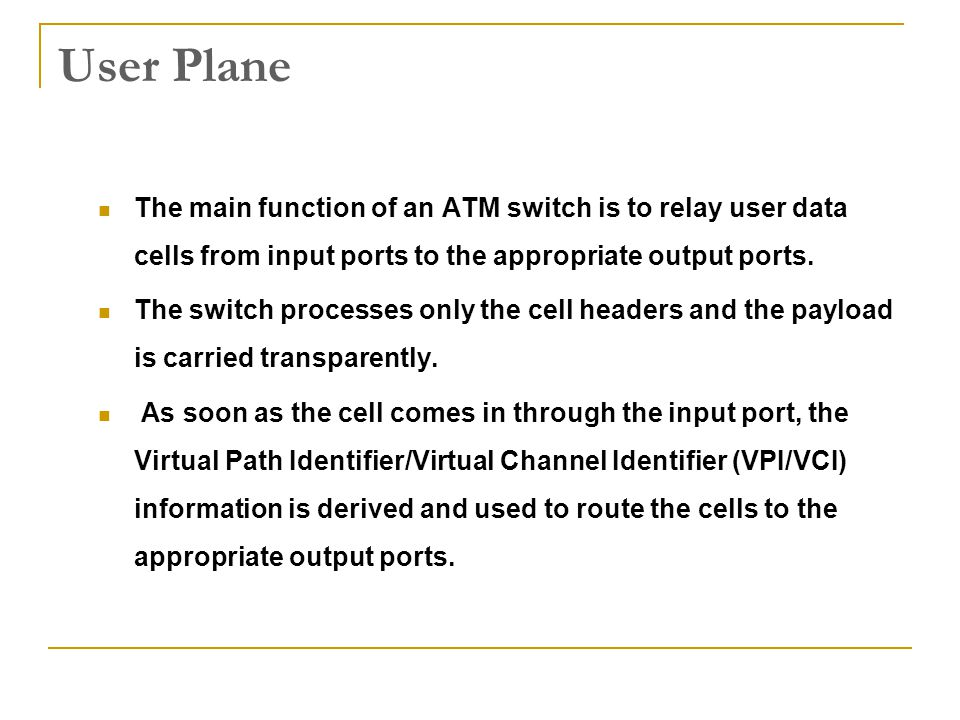 User Plane The main function of an ATM switch is to relay user data cells from input ports to the appropriate output ports. The switch processes only