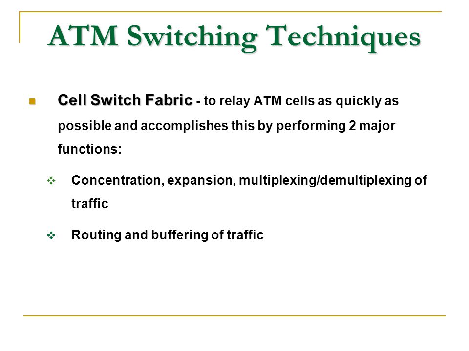 ATM Switching Techniques Cell Switch Fabric Cell Switch Fabric - to relay ATM cells as quickly as possible and accomplishes this by performing 2 major