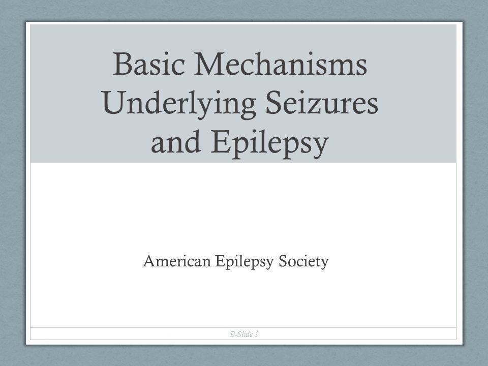 Basic Mechanisms Underlying Seizures and Epilepsy American Epilepsy Society B-Slide 1