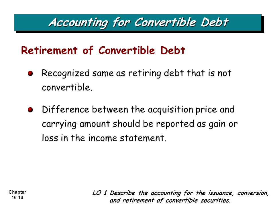 Chapter 16-14 Recognized same as retiring debt that is not convertible.