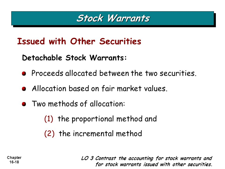 Chapter 16-18 Issued with Other Securities Stock Warrants LO 3 Contrast the accounting for stock warrants and for stock warrants issued with other sec