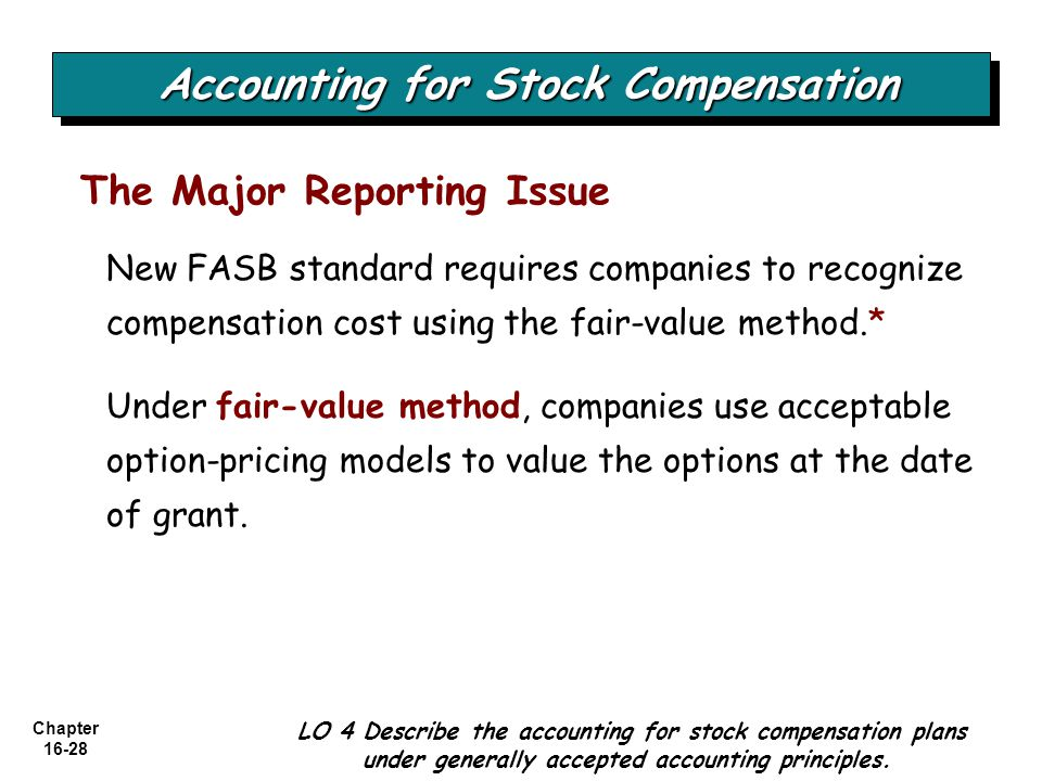Chapter 16-28 The Major Reporting Issue New FASB standard requires companies to recognize compensation cost using the fair-value method.* Under fair-v