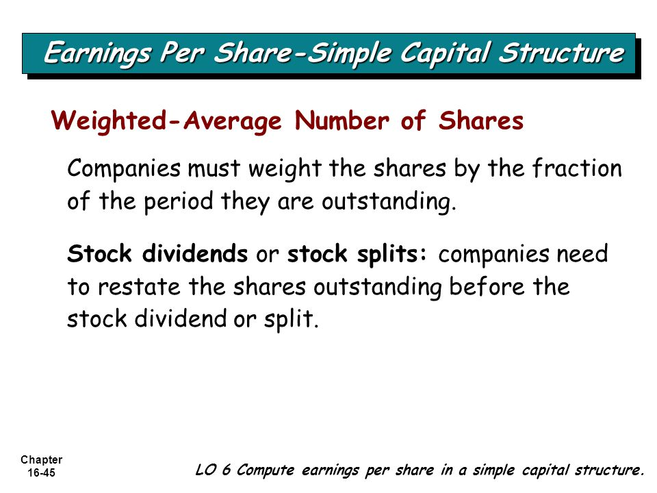 Chapter 16-45 LO 6 Compute earnings per share in a simple capital structure.