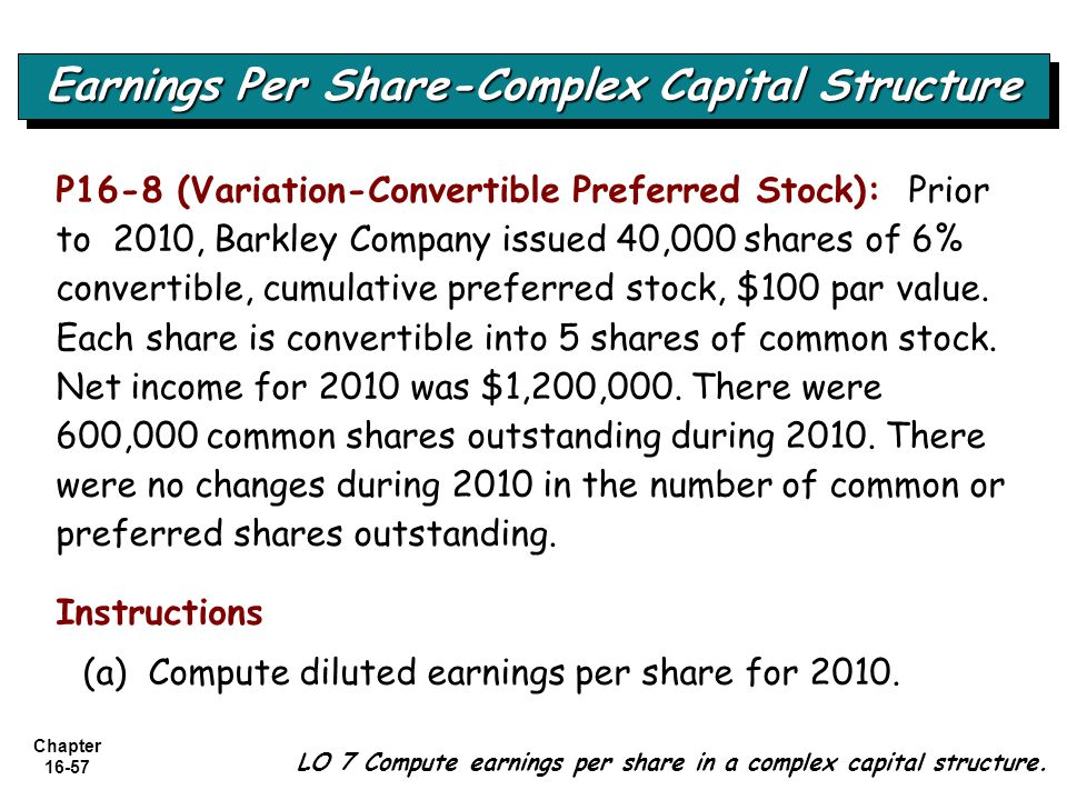 Chapter 16-57 LO 7 Compute earnings per share in a complex capital structure. Earnings Per Share-Complex Capital Structure P16-8 (Variation-Convertibl