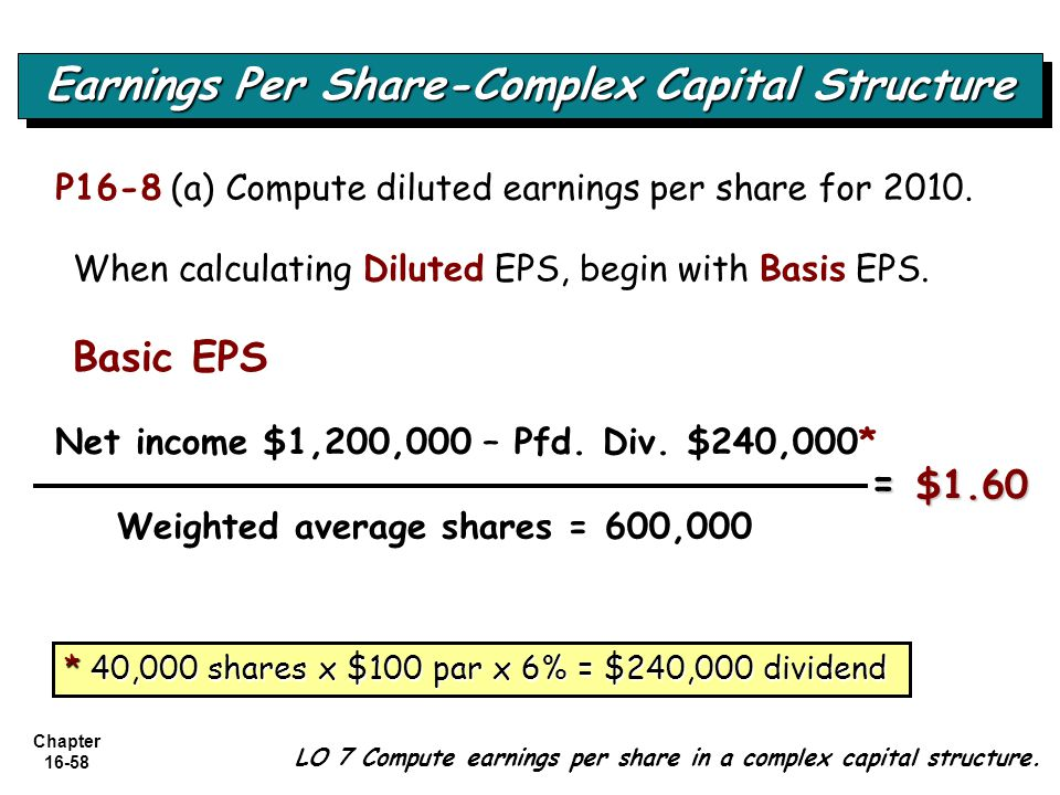 Chapter 16-58 LO 7 Compute earnings per share in a complex capital structure. Earnings Per Share-Complex Capital Structure P16-8 (a) Compute diluted e