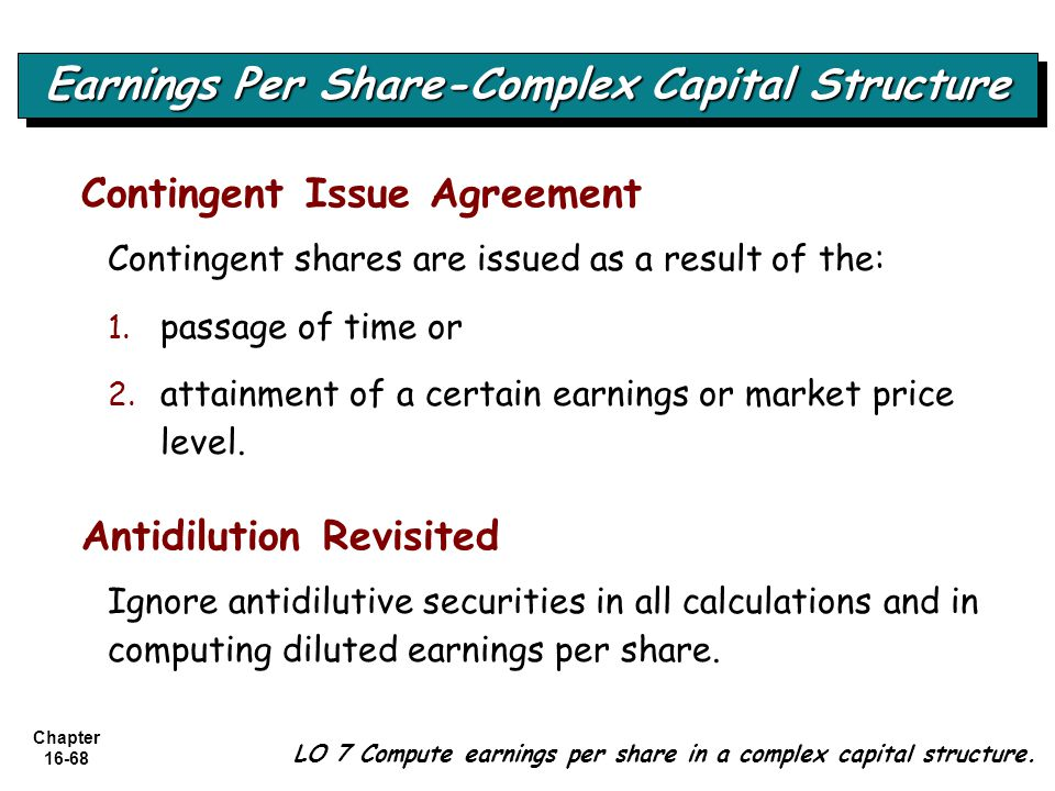 Chapter 16-68 Contingent Issue Agreement Contingent shares are issued as a result of the: 1. 1. passage of time or 2. 2. attainment of a certain earni