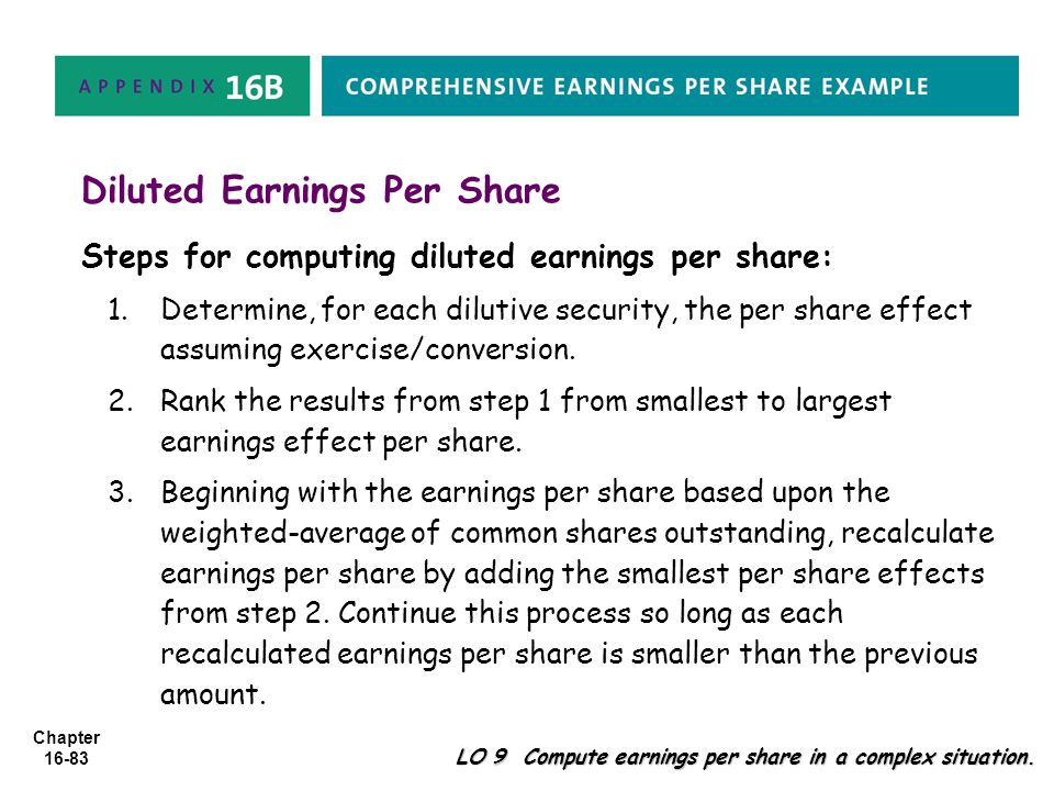 Chapter 16-83 Diluted Earnings Per Share Steps for computing diluted earnings per share: 1.