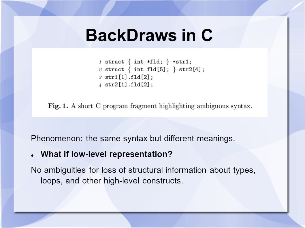 BackDraws in C Phenomenon: the same syntax but different meanings.