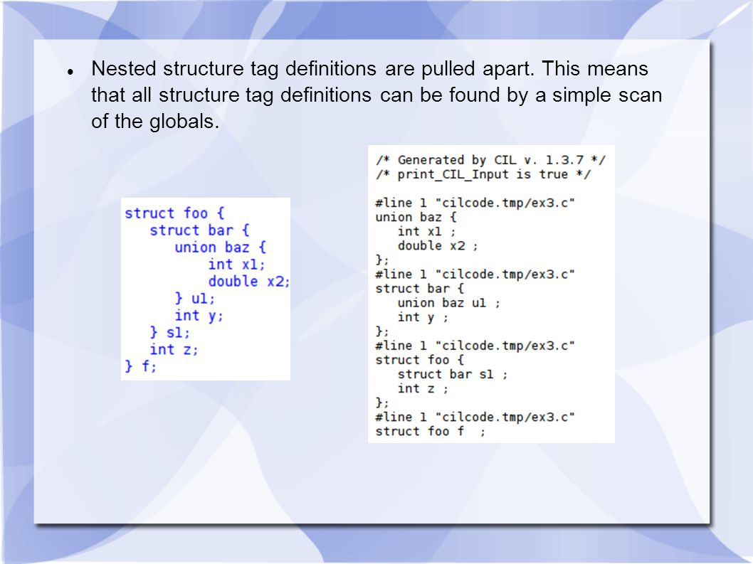 Nested structure tag definitions are pulled apart. This means that all structure tag definitions can be found by a simple scan of the globals.