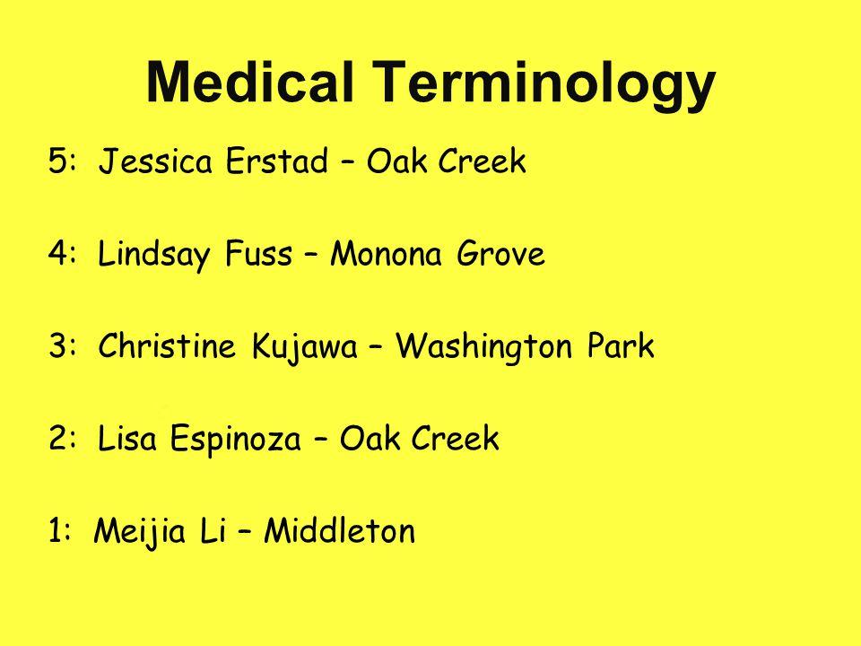 Dental Terminology 5: Abby Bierman – New London 4: Annemarie Steensen – Washington Park 3: McKindi Heiman – Monona Grove 2: Changning Shou – Memorial 1: Sam Fuchs – Ladysmith