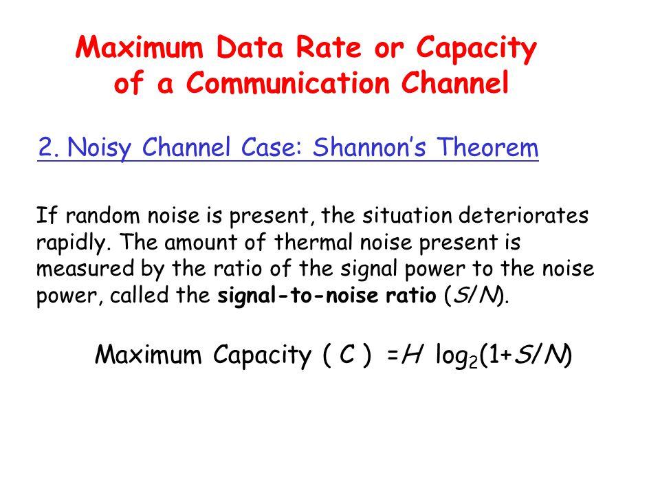signal noise signal + noise signal noise signal + noise High SNR Low SNR SNR = Average Signal Power Average Noise Power SNR (dB) = 10 log 10 SNR t t t t t t