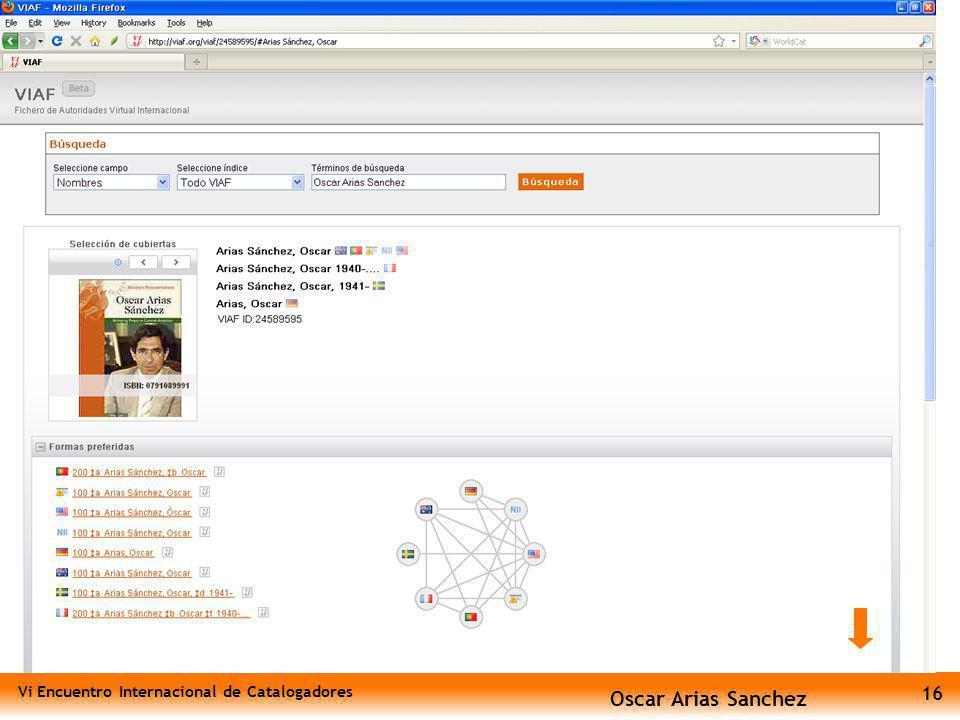 Vi Encuentro Internacional de Catalogadores 16 Oscar Arias Sanchez