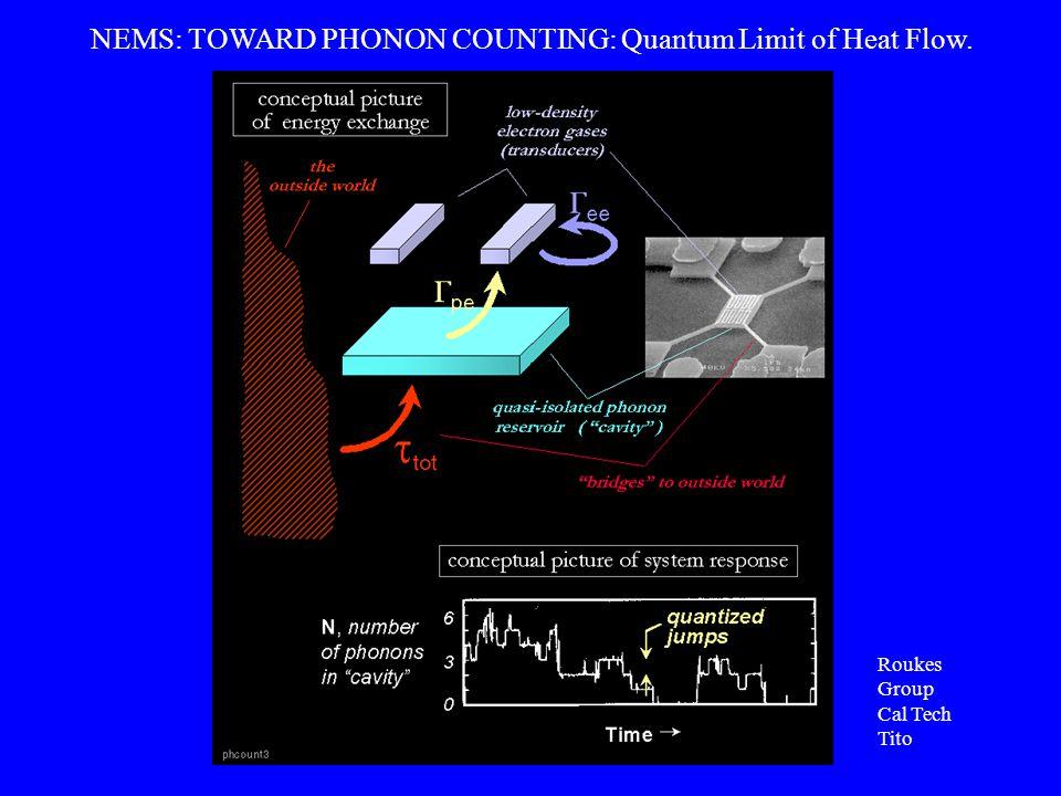 NEMS: TOWARD PHONON COUNTING: Quantum Limit of Heat Flow. Roukes Group Cal Tech Tito