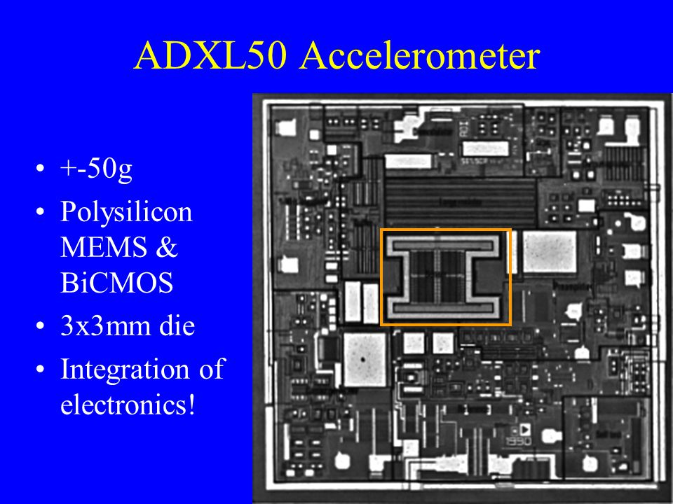 ADXL50 Accelerometer +-50g Polysilicon MEMS & BiCMOS 3x3mm die Integration of electronics!
