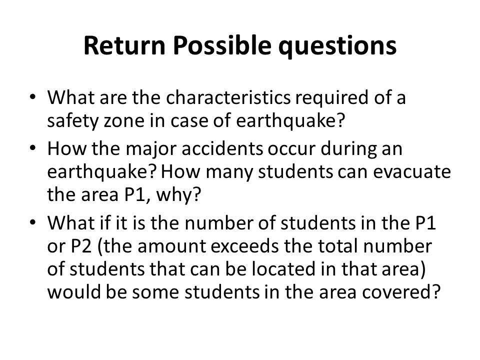 Return Possible questions What are the characteristics required of a safety zone in case of earthquake.