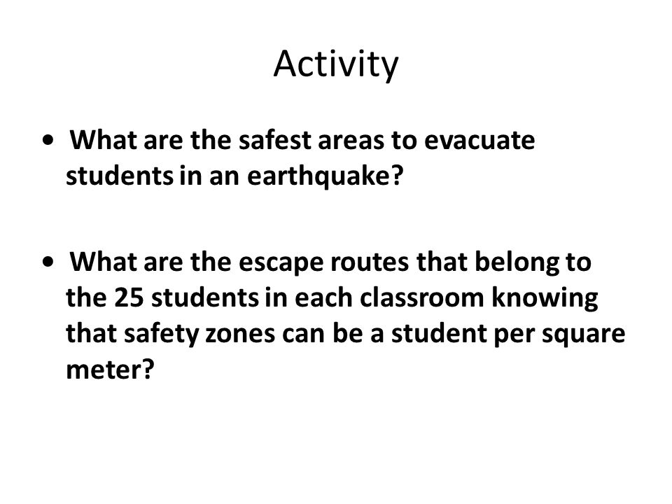 Class interaction Teacher intervention Presents the central theme of the class earthquake evacuation using mathematics .