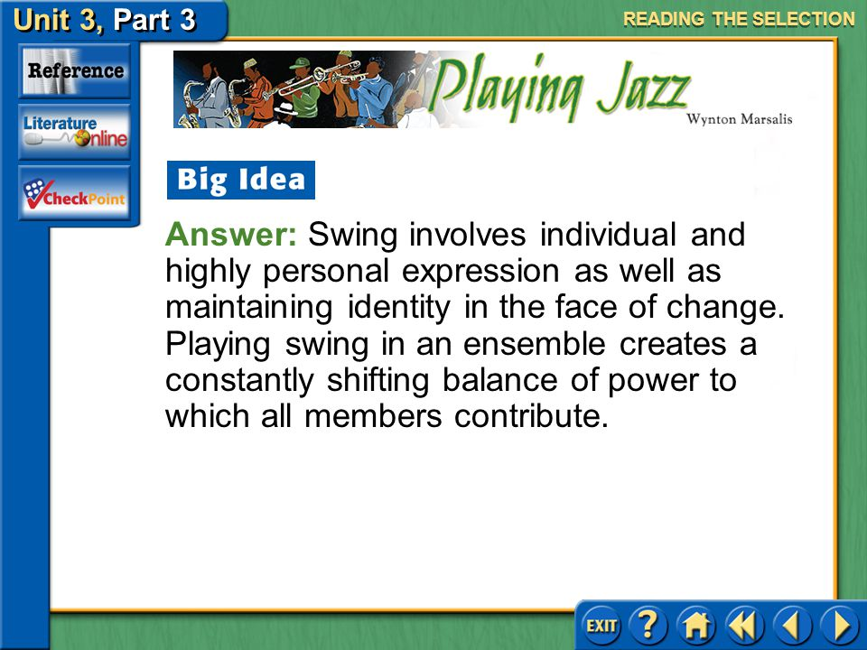 Unit 3, Part 3 Playing Jazz Issues of Identity Read the first complete paragraph on page 684.
