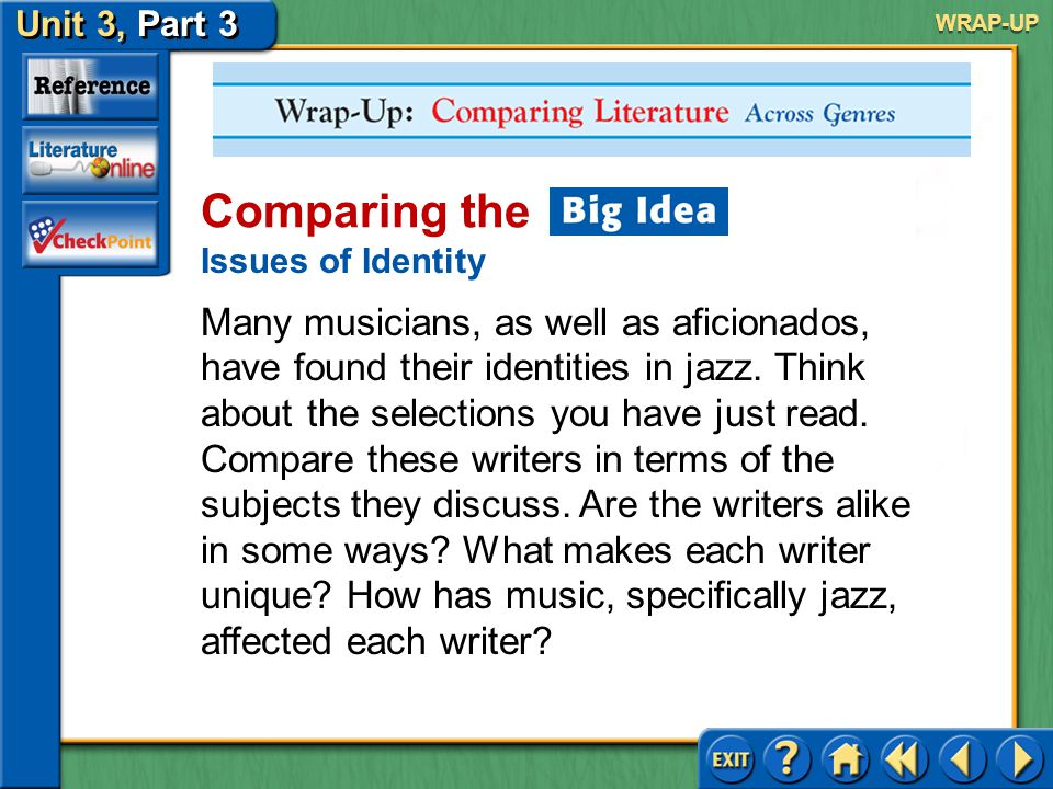 Unit 3, Part 3 Wrap-up: Comparing Literature Across Genres Comparing the Issues of Identity The best jazz music involves improvisation.