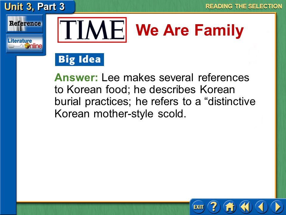 Unit 3, Part 3 Time: We Are Family We Are Family Issues of Identity Consider the following idea as you read.