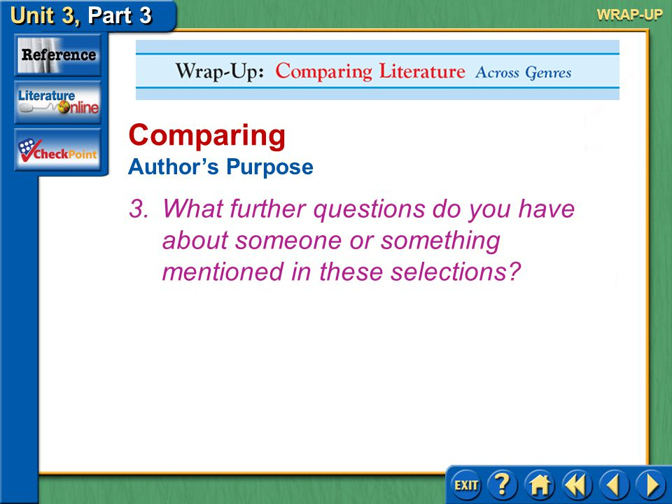Unit 3, Part 3 Wrap-up: Comparing Literature Across Genres Comparing Author's Purpose 2.What did these readings teach you.