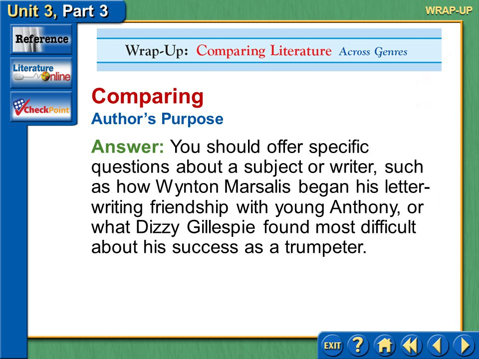 Unit 3, Part 3 Wrap-up: Comparing Literature Across Genres Comparing Author's Purpose 3.What further questions do you have about someone or something mentioned in these selections.