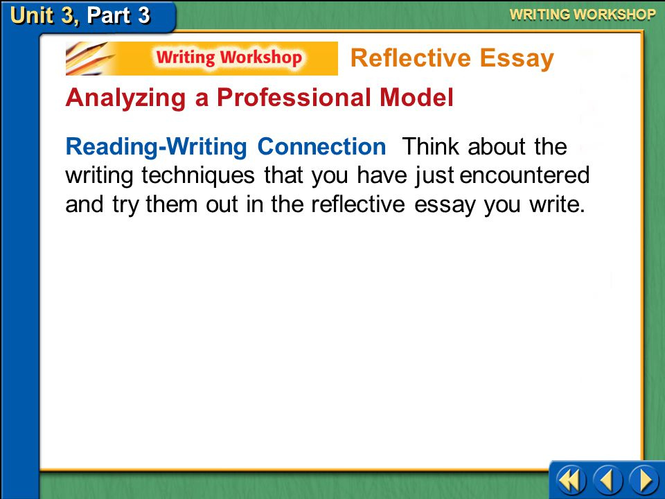 Unit 3, Part 3 Writing Workshop WRITING WORKSHOP Analyzing a Professional Model In the reflective essay on pages 687–688 of your textbook, Joy Harjo f