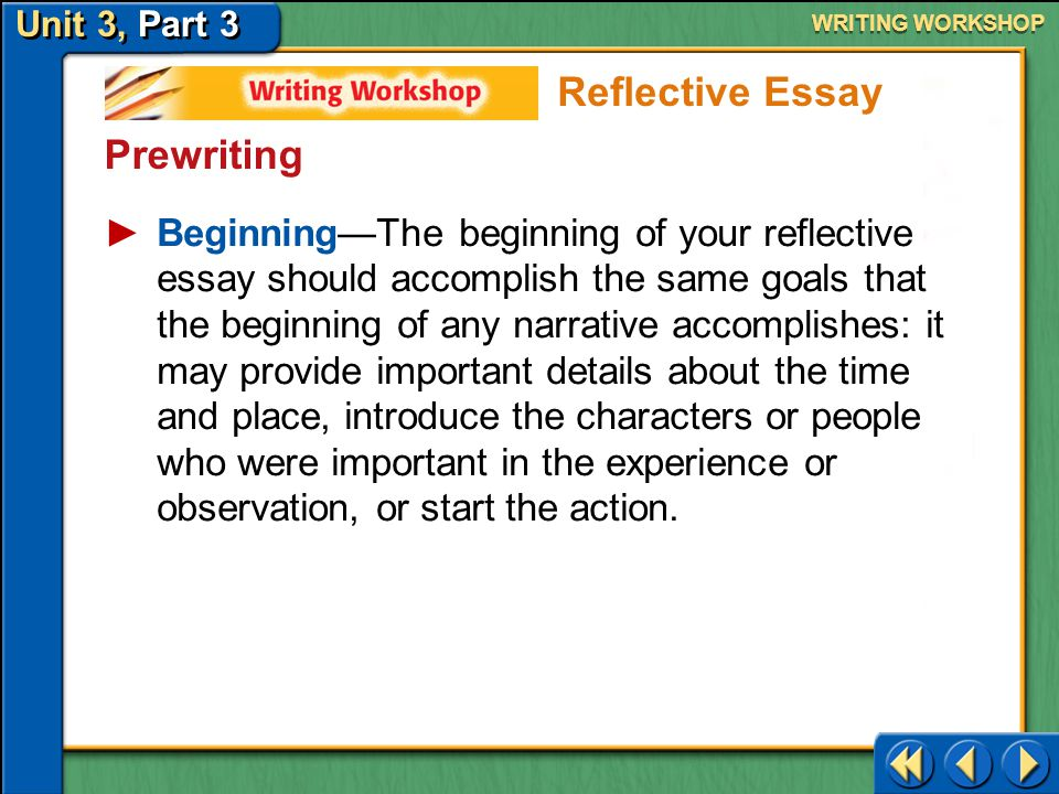 Unit 3, Part 3 Writing Workshop WRITING WORKSHOP Prewriting Make a Plan for Writing Your next step is to outline or organize your ideas for writing.