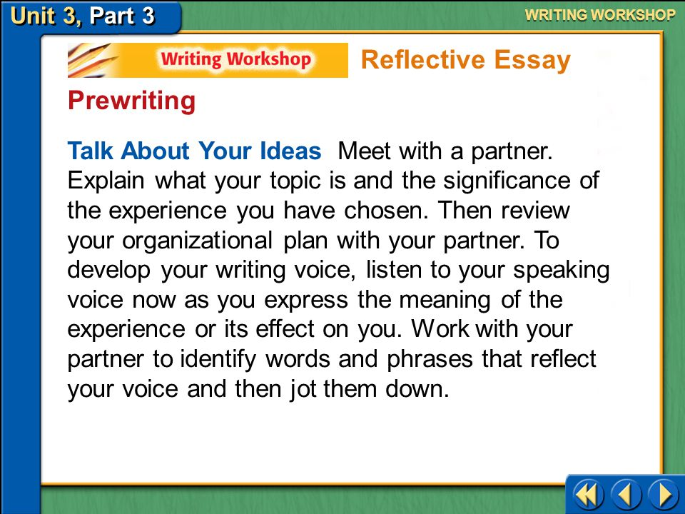 Unit 3, Part 3 Writing Workshop WRITING WORKSHOP Prewriting ►Middle—The middle of your reflective essay should tell what happened.