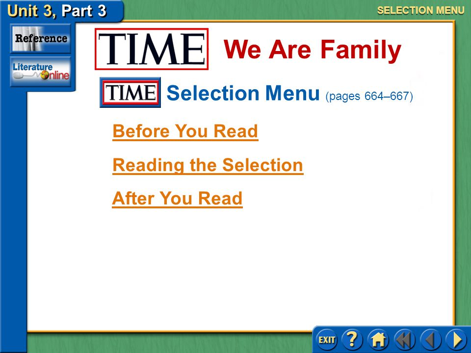 Unit 3, Part 3 MAIN MENU Issues of Identity (pages 664–695) We Are Family Click a selection title to go to the corresponding selection menu.
