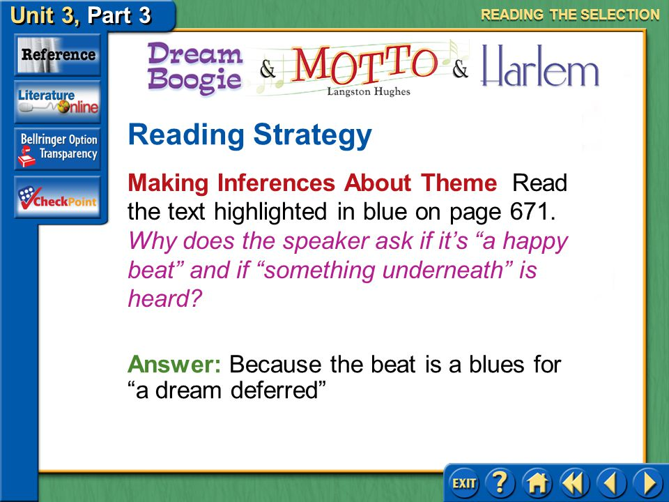 Unit 3, Part 3 Dream Boogie, Motto & Harlem Issues of Identity Keep the following questions in mind as you read. Who is the speaker in each poem? Wher