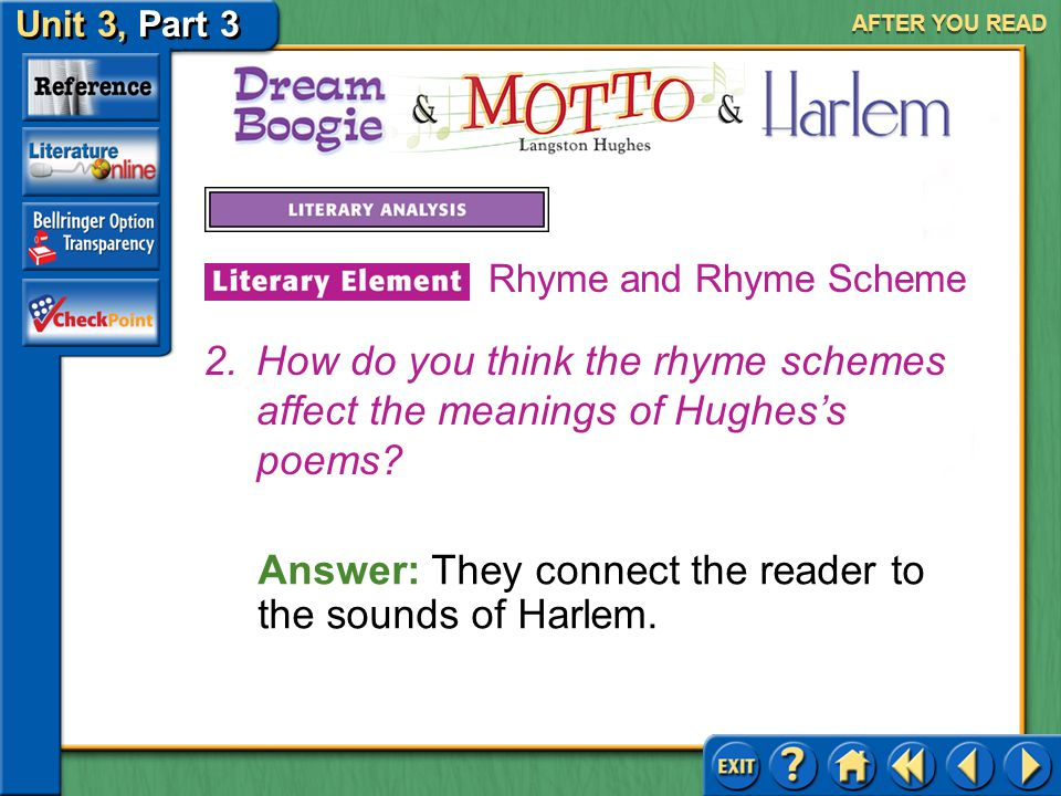 Unit 3, Part 3 Dream Boogie, Motto & Harlem AFTER YOU READ Answer: Rhetorical questions rhyme and include similes.