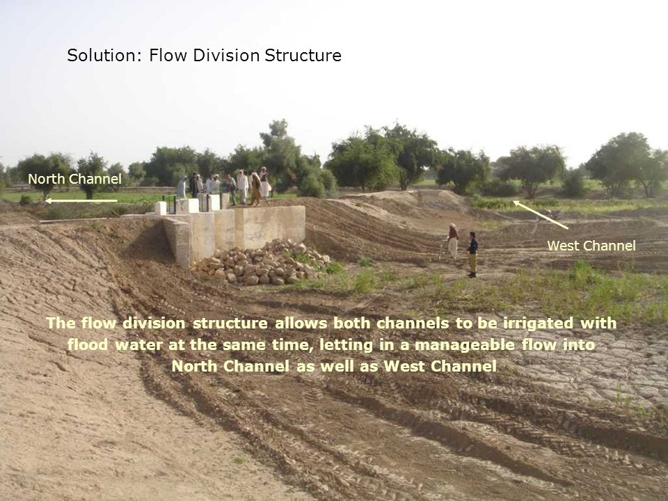 Solution Solution: Flow Division Structure North Channel West Channel The flow division structure allows both channels to be irrigated with flood wate