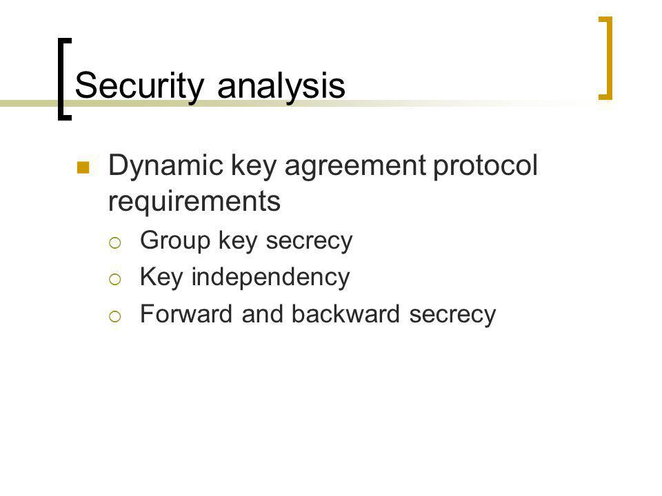 Security analysis Dynamic key agreement protocol requirements  Group key secrecy  Key independency  Forward and backward secrecy