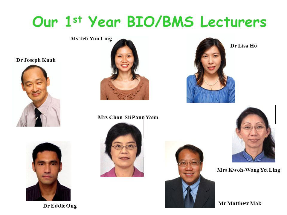 Our 1 st Year BIO/BMS Lecturers Dr Lisa Ho Dr Joseph Kuah Dr Eddie Ong Mrs Kwoh-Wong Yet Ling Mr Matthew Mak Ms Teh Yun Ling Mrs Chan-Sii Pann Yann