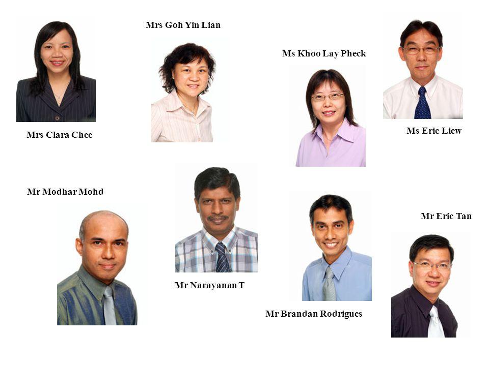 Mrs Clara Chee Mrs Goh Yin Lian Ms Khoo Lay Pheck Ms Eric Liew Mr Modhar Mohd Mr Narayanan T Mr Brandan Rodrigues Mr Eric Tan