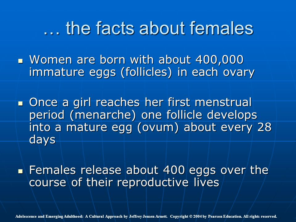 … the facts about females Women are born with about 400,000 immature eggs (follicles) in each ovary Women are born with about 400,000 immature eggs (f