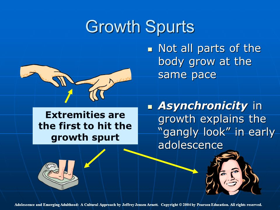 """Growth Spurts Not all parts of the body grow at the same pace Not all parts of the body grow at the same pace Asynchronicity in growth explains the """"g"""
