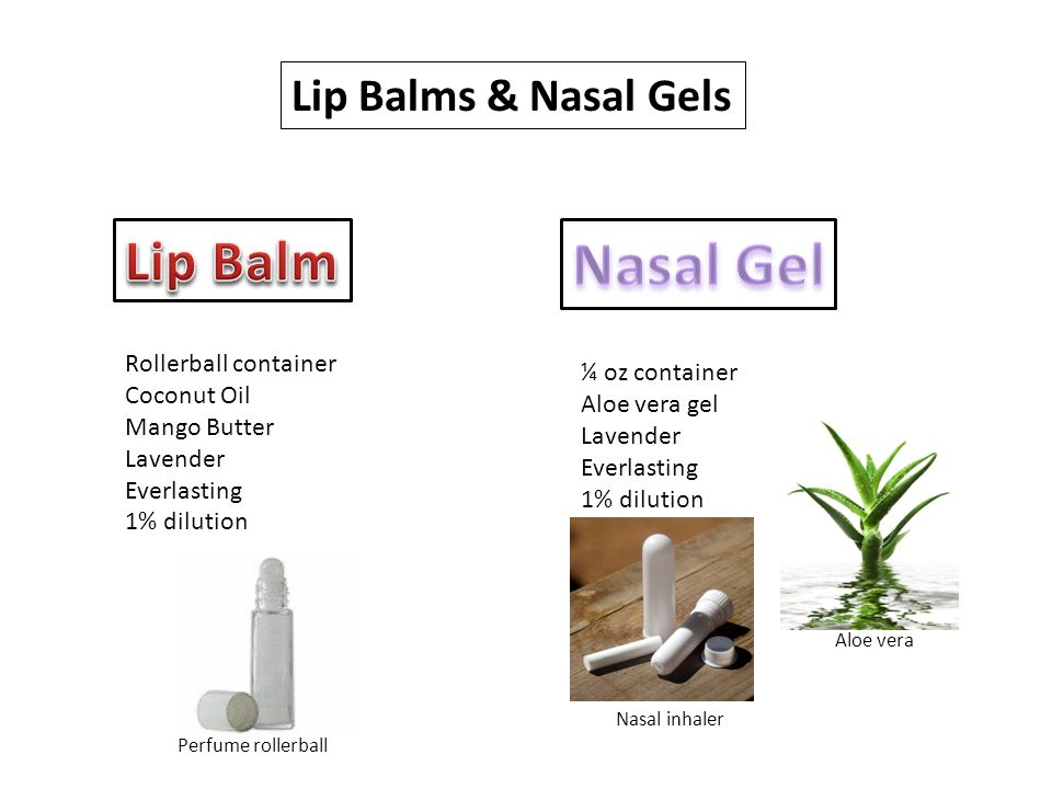 Lip Balms & Nasal Gels Rollerball container Coconut Oil Mango Butter Lavender Everlasting 1% dilution ¼ oz container Aloe vera gel Lavender Everlasting 1% dilution Aloe vera Nasal inhaler Perfume rollerball