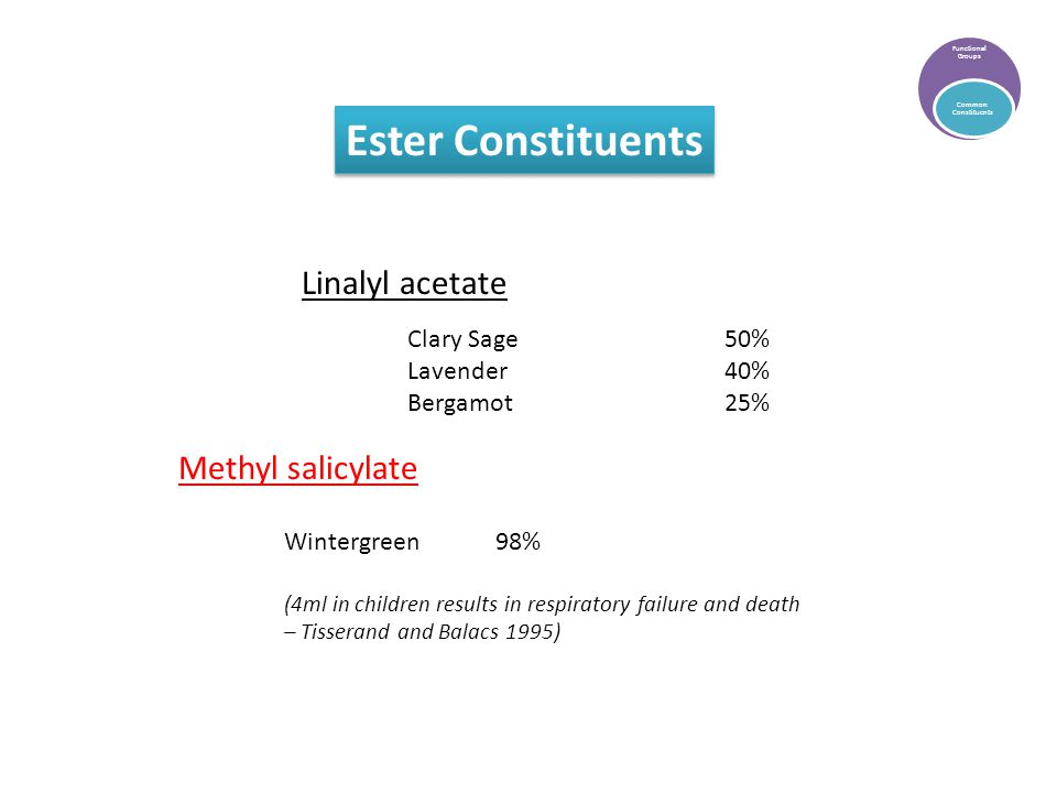 Ester Constituents Functional Groups Common Constituents Linalyl acetate Methyl salicylate Clary Sage50% Lavender40% Bergamot25% Wintergreen98% (4ml in children results in respiratory failure and death – Tisserand and Balacs 1995)
