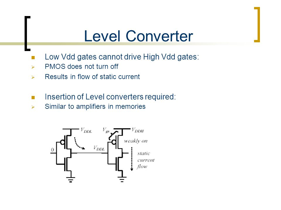 Level Converter Low Vdd gates cannot drive High Vdd gates:  PMOS does not turn off  Results in flow of static current Insertion of Level converters