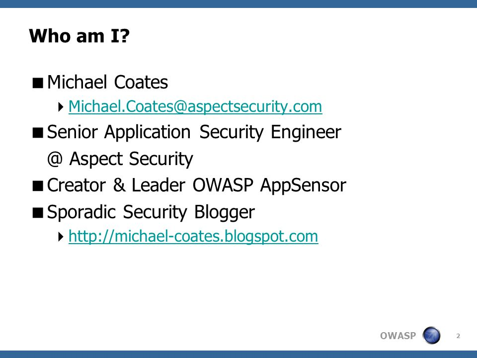 OWASP Who am I.