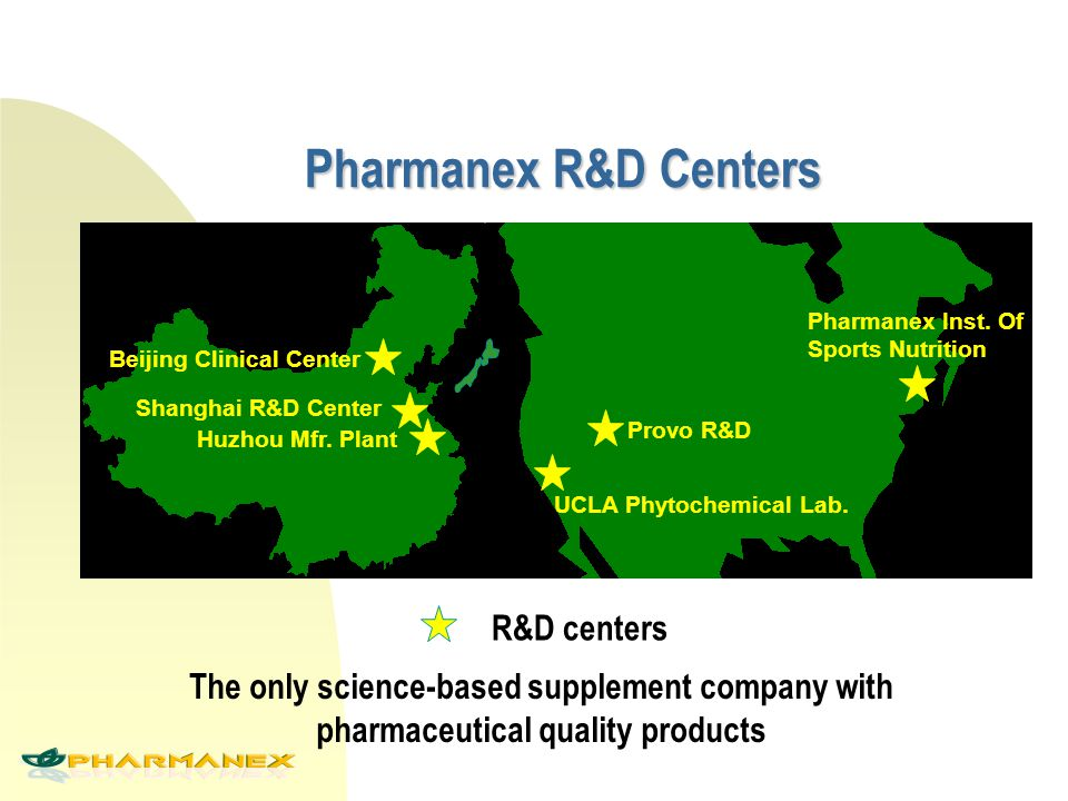 Pharmanex R&D Centers Huzhou Mfr. Plant Shanghai R&D Center Beijing Clinical Center Provo R&D Pharmanex Inst. Of Sports Nutrition UCLA Phytochemical L