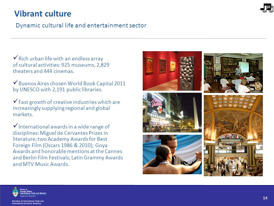 Vibrant culture Dynamic cultural life and entertainment sector Rich urban life with an endless array of cultural activities: 925 museums, 2,829 theate