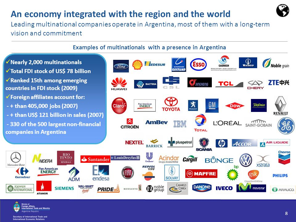 8 An economy integrated with the region and the world Leading multinational companies operate in Argentina, most of them with a long-term vision and c