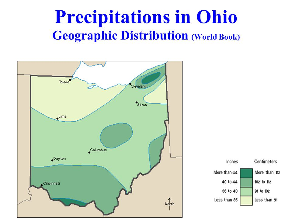 Precipitations in Ohio Geographic Distribution (World Book)