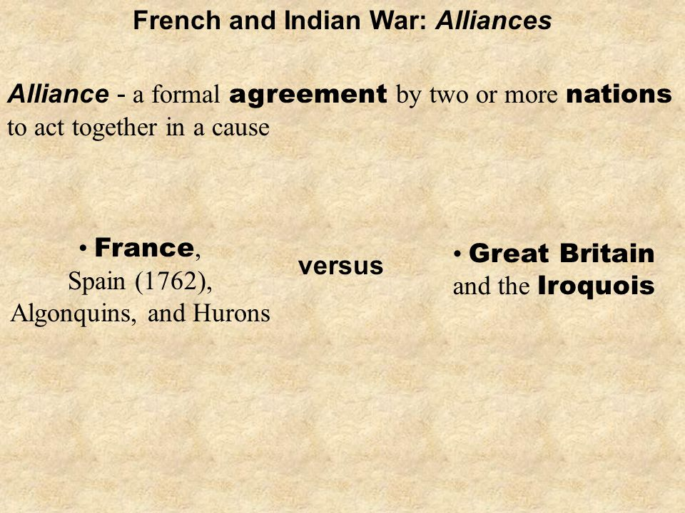 Great Britain and the Iroquois Alliance - a formal agreement by two or more nations to act together in a cause French and Indian War: Alliances France, Spain (1762), Algonquins, and Hurons versus