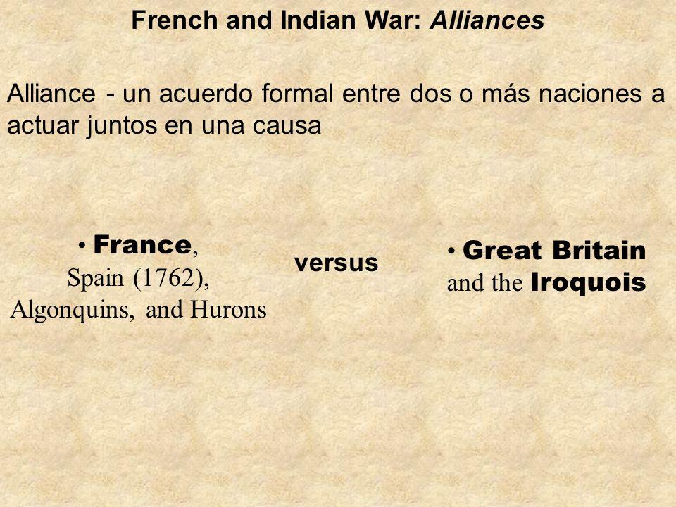 Great Britain and the Iroquois Alliance - un acuerdo formal entre dos o más naciones a actuar juntos en una causa French and Indian War: Alliances Fra