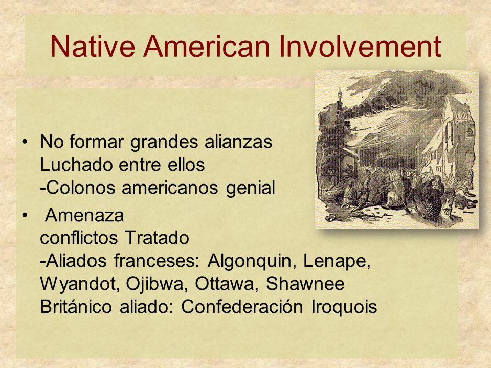 Native American Involvement No formar grandes alianzas Luchado entre ellos -Colonos americanos genial Amenaza conflictos Tratado -Aliados franceses: Algonquin, Lenape, Wyandot, Ojibwa, Ottawa, Shawnee Británico aliado: Confederación Iroquois