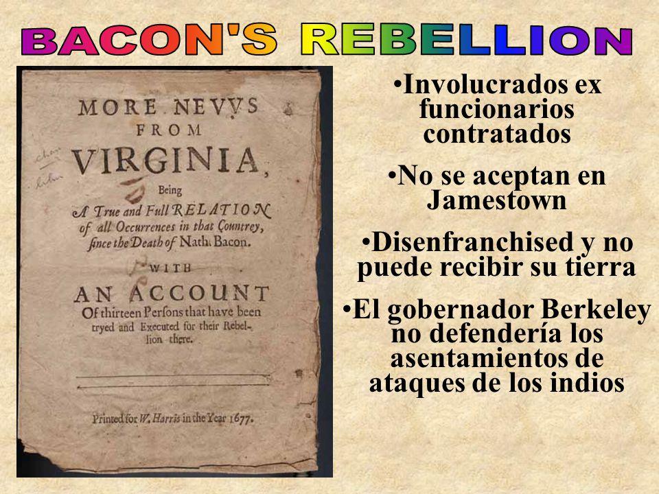 Involucrados ex funcionarios contratados No se aceptan en Jamestown Disenfranchised y no puede recibir su tierra El gobernador Berkeley no defendería