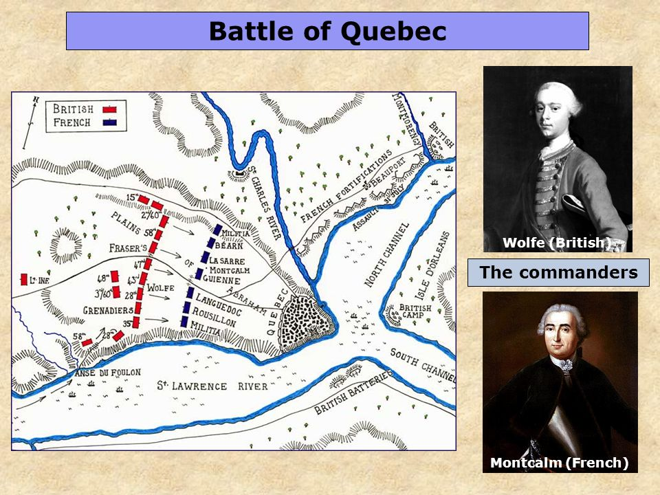 41 Battle of Quebec Wolfe (British) Montcalm (French) The commanders